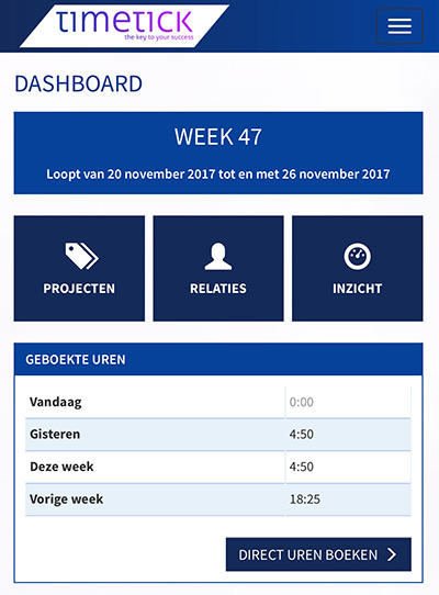 Dashboard op mobiel van Timesheet Small Business